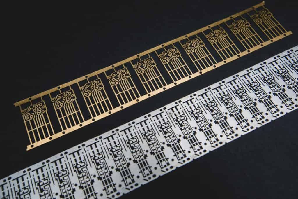 Example of metal etched parts in electronics. precision detail. Advanced Metal Etching